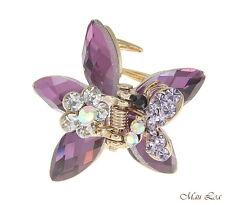 Hawaiian Plumeria Flower Crystal Rhinestone Claw Clamp Hairpin Hair Clip Purple