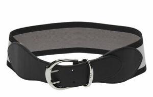 RALPH LAUREN Cornwall double prong striped stretch women's belt BLACK- S, L, XL
