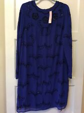 Blue Beaded Evening Dress Size 16 Cocktail Party Savior New+ Tags