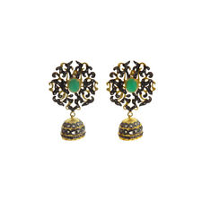 Gemstone 925 Sterling Silver Jhumka Rhodium Plated Earring Jewelry For Women