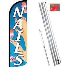 Nails (Blue) Windless-Style Feather Flag Bundle 14' OR Replacement Flag Only 11.