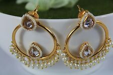 Indian Bollywood Traditional White Pearl Hoops Earring Jewellery Gold Plated 246