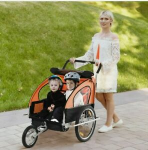 ^  2-in-1 Child Bicycle Trailer 2 Seater Baby Stroller Carrier Jogger  38:21