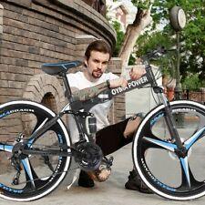 "NEW 26"" Folding Mountain Bike Shimano 21 Speed Bicycle Full Suspension MTB Bikes"