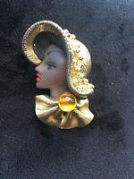 Jaretta Art Deco African Lady Gold Tone Hat Brooch Pin Vintage