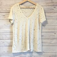 Michael Stars V-Neck Distressed Tee Womens One Size Ivory Short Sleeve