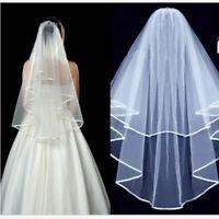 Cheap Ivory White Wedding Veils Short Elbow With Comb Bridal Veil 2 Tier Layer