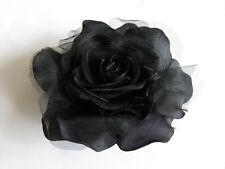 6 inch BLACK Silk Rose Wedding Bridal Hair Flower Clip