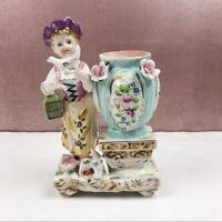 Antique Dresden Porcelain Lady Bird Vase Figurine Colorful Pretty