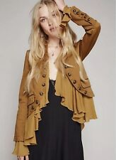 NEW Free People Romantics Ruffle Jacket In Gold Size XS