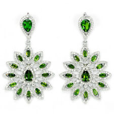 Sterling Silver 925 Large Genuine Natural Chrome Diopside & Lab Diamond Earrings