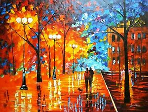 "Leonid Afremov-""Night Happiness""-Original Oil/Canvas/Hand Signed/COA/48x36"