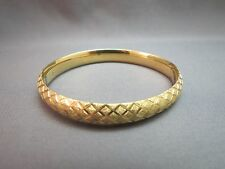 "14k Yellow Gold Textured Bangle Bracelet 10.45 Grams 7"" Long 9mm Wide Hinged"