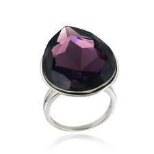 Purple Swarovski Elements Teardrop Fashion Ring, Size 9