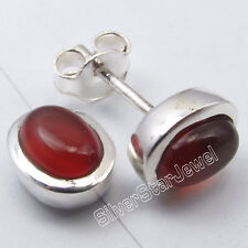 .925 Sterling Silver RED CARNELIAN 5x7 MM Oval LATEST STYLE Stud Earrings 0.9 CM
