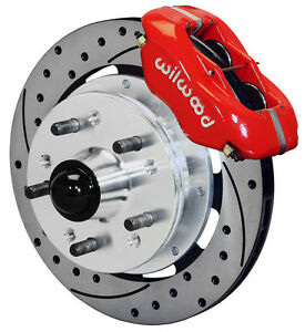 """WILWOOD DISC BRAKE KIT,FRONT,41-56 PACKARD,11.75"""" DRILLED ROTORS,RED CALIPERS"""