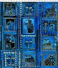Clothworks Fabric LAUREL BURCH Fabulous Felines INDIGO BLUE CATS PANEL12 SQUARES