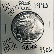 1943 BU GEM LIBERTY WALKING SILVER HALF UNC MS+++ U.S. MINT RARE COIN 9406