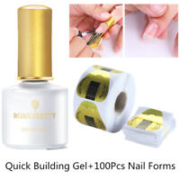 6ML BORN PRETTY Quick Building Gel Polish Finger Extension +100Pcs Nai Forms Kit