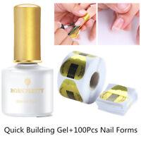 6ML BORN PRETTY Quick Building Gel Polish Finger Extension +100Pcs Nai Forms Kit