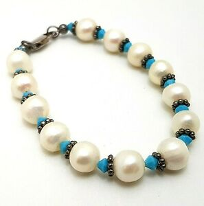 Sterling Silver Freshwater Pearl Turquoise Glass Bracelet