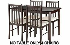 Leon Walnut  Finish Solid Wood Cream Dining Chairs Only NO TABLE JUST 4 CHAIRS