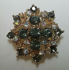 New fashion cocktail ring jewelry adjustable gray clear stone cluster gold-tone