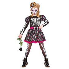 Girls Skull Day of The Dead Kids Halloween Fancy Dress Costume Zombie Skeleton 8 - 10 Years Hg-6053
