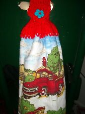 Crocheted Hanging Double Thick Kitchen Towel Fall Red Truck  Farm Reversible