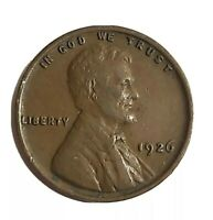 1926 Lincoln Wheat Cent.  Circulated 1926 Lincoln Wheat Copper Penny.