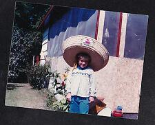Vintage Photograph Adorable Little Girl Wearing Huge Sombrero Hat