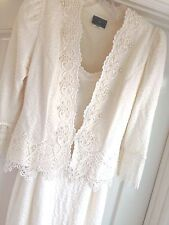 Stunning Vtg Size 11-12 Victorian Ivory Lace Sheath Jacket Wedding Bride Dress