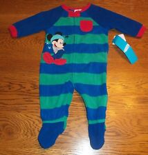 9-12 Months Mickey Mouse STARS & STRIPES Blanket Sleeper Pajamas Baby Blue PJS