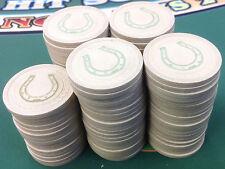 95 WHITE SM-KEY CLAY POKER CHIPS WITH BOX HORSESHOE CASINO QUALITY FREE SHIPPING