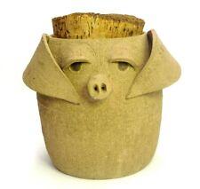 "HANDMADE ART POTTERY STONEWARE UGLY FACE PIG PIGGY COOKIE JAR 8.5"" TALL W/CORK"