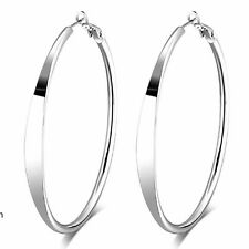 Womens White Gold Filled Large Hoop Earrings Basket Ball Wives Big Earings Gift