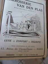 VAN DEN PLAS carrosserie coupé de ville publicité papier ILLUSTRATION 1919 col