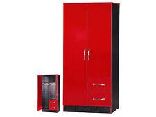 Marina High Gloss Red & Black Combi Wardrobe 2 Door 2 Drawer - Bedroom Furniture