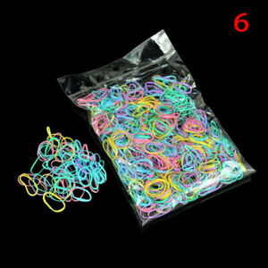 1000pcs Fashion Colorful Ponytail Holder Elastic Rubber Band Hair Ties Rope Ring