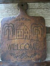Rustic Primitive Style Folk Art Welcome Cutting Board Wall Decor Tree of Life