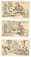 3 diff trade cards showing woman & husband winding yarn.  Puns. Knitting related