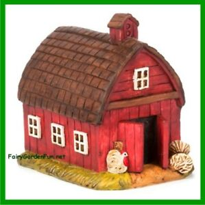 Fairy Garden Fun Red Barn Farm Fairy House Miniature Dollhouse Figurine