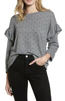 NWT Women's Current/Elliott Heather Gray Star Print Ruffle Sweatshirt Sz 3 Large
