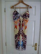 Roberto CAVALLI donna multicolore a pieghe bustier abito taglia IT 42/UK 10