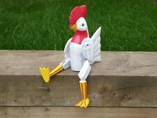 Wooden Hand Carved And Painted Chicken Hen Shelf Sitter 35cm.....