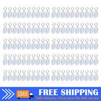 100X Clear Acrylic Blank Keyring DIY Photo Insert Frame Name Card Keyrings Gift