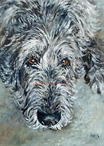 SALE Irish Wolfhound Signed Dog Print by Susan Harper Unmounted