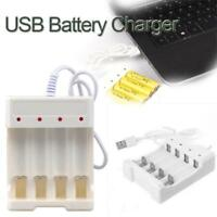 USB Fast Charging Li-ion/Ni-MH Battery Charger For AA/AAA Battery White 4 Slots