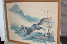 Antique Vtg 1935 Bank Calendar Sweney PICTURE FRAME 1961 FOX Cabin