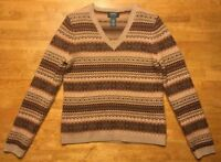 Ralph Lauren Women's Brown Striped Long Sleeve V-Neck Lambswool Sweater - Small